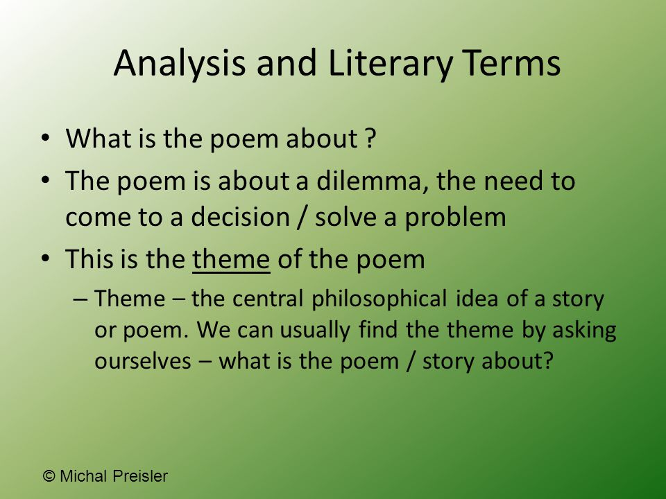 Analysis and Literary Terms