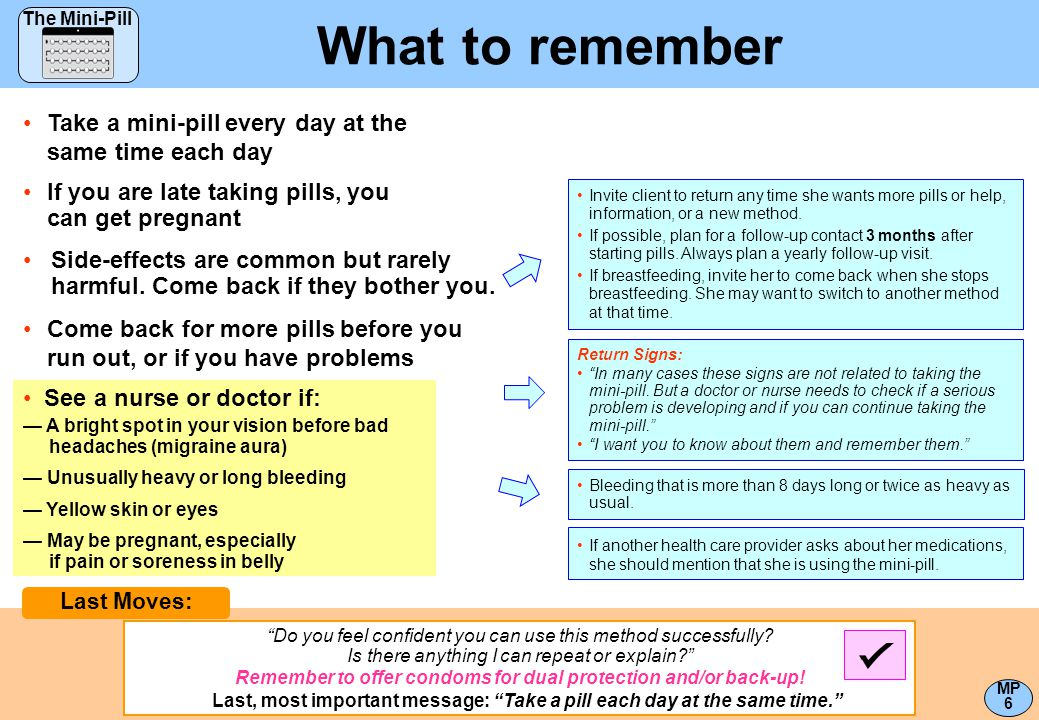 What to remember Take a mini-pill every day at the same time each day