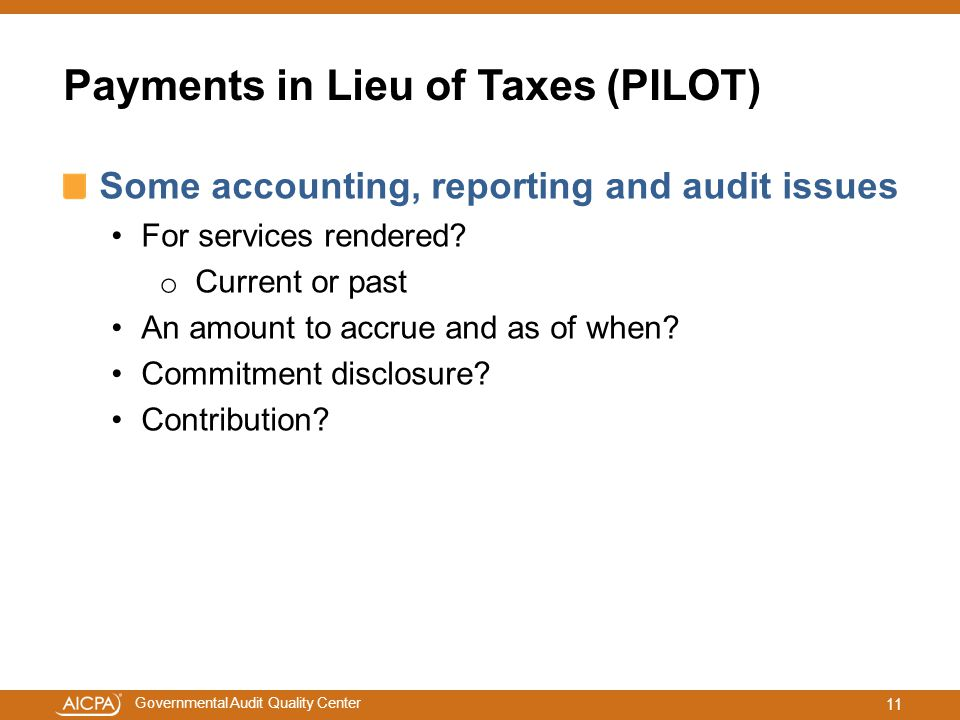 Payments in Lieu of Taxes (PILOT)
