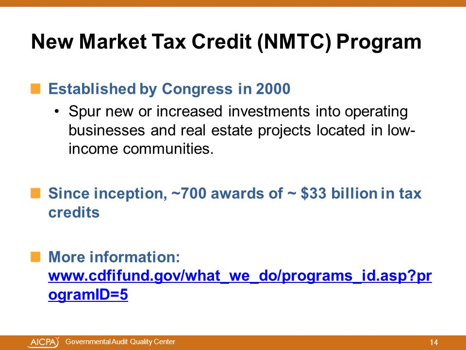 New Market Tax Credit (NMTC) Program