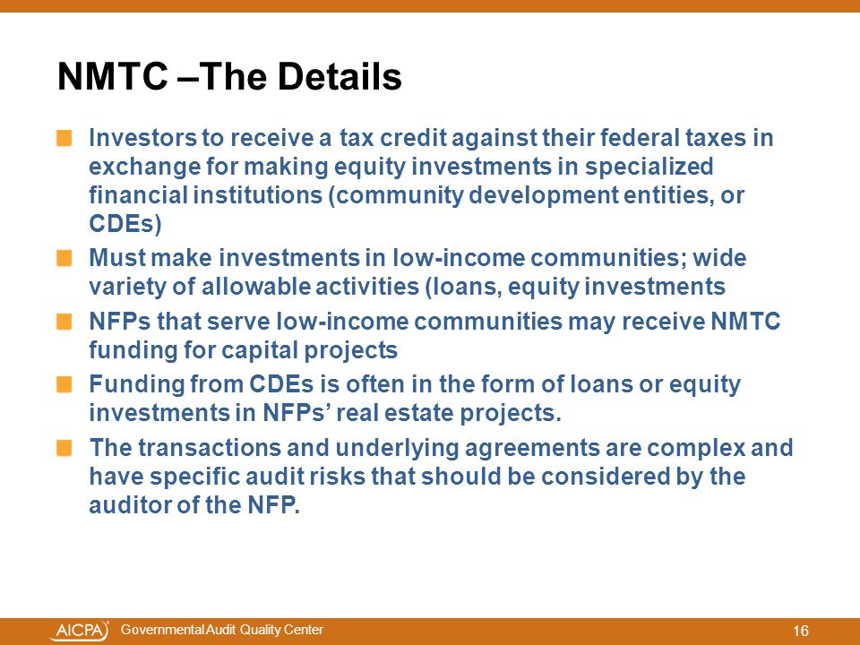 NMTC –The Details