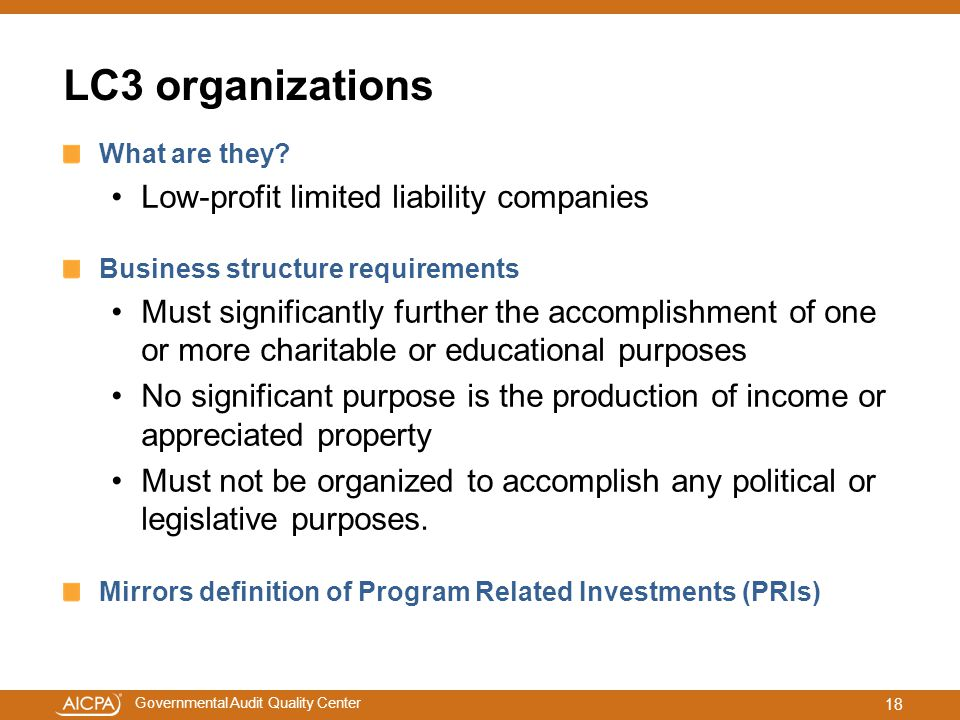 LC3 organizations Low-profit limited liability companies
