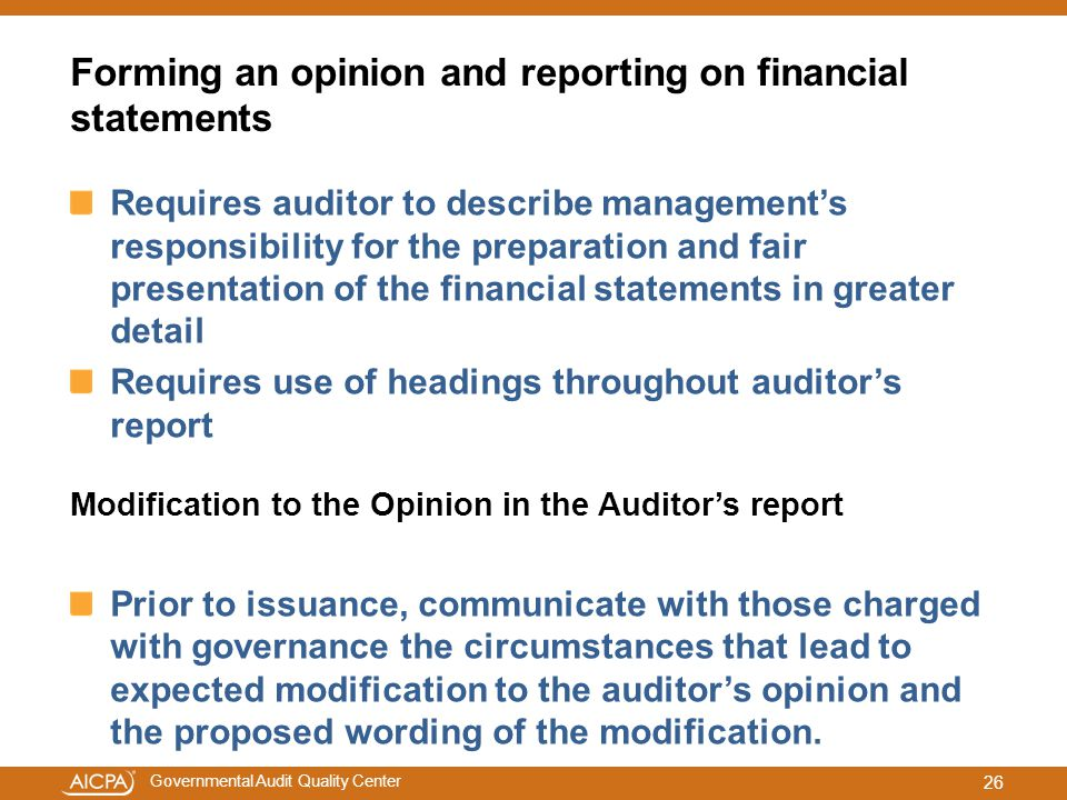 Forming an opinion and reporting on financial statements