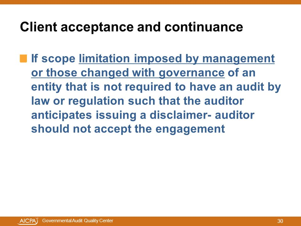 Client acceptance and continuance