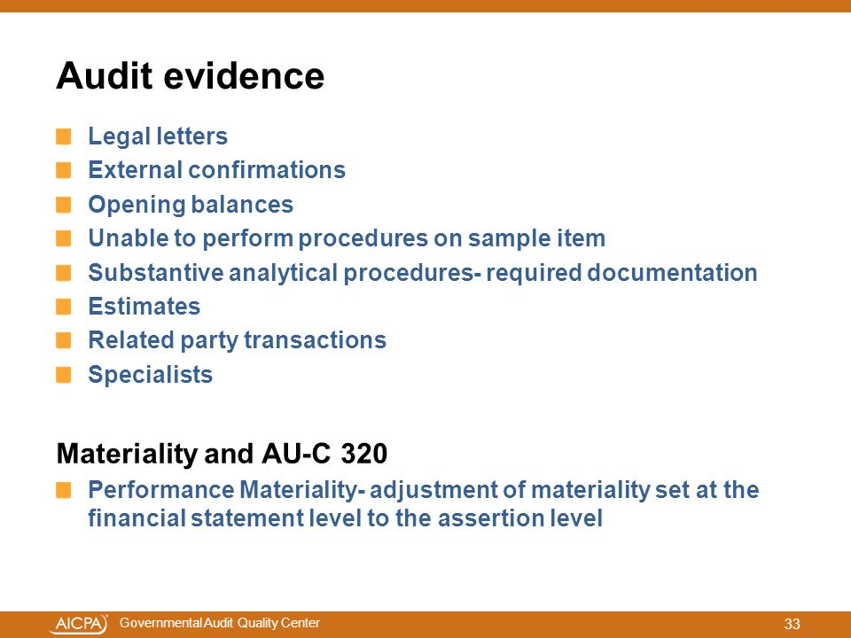 Audit evidence Materiality and AU-C 320 Legal letters
