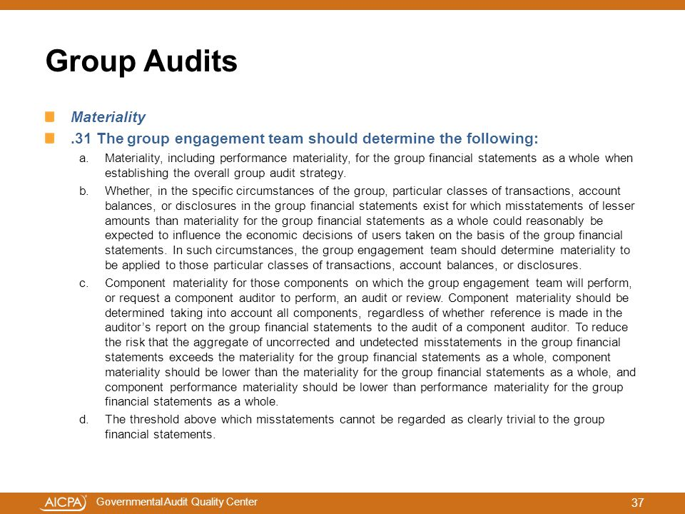 Group Audits Materiality