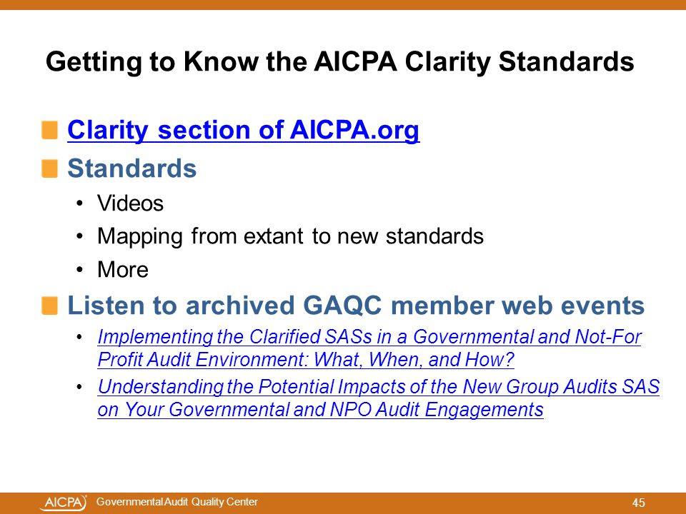 Getting to Know the AICPA Clarity Standards