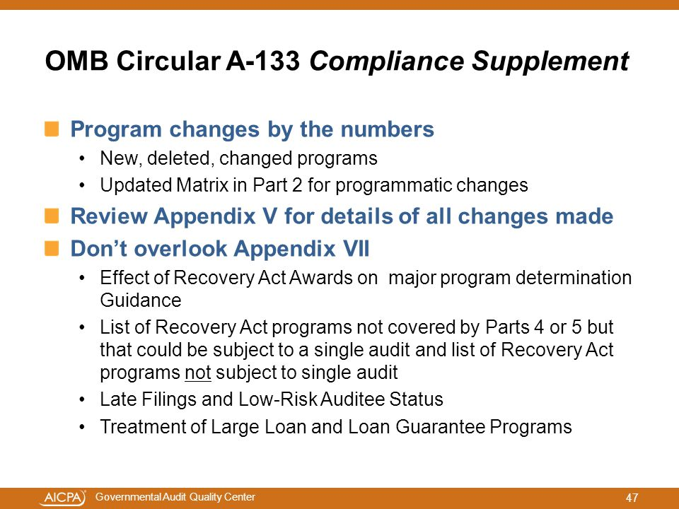OMB Circular A-133 Compliance Supplement