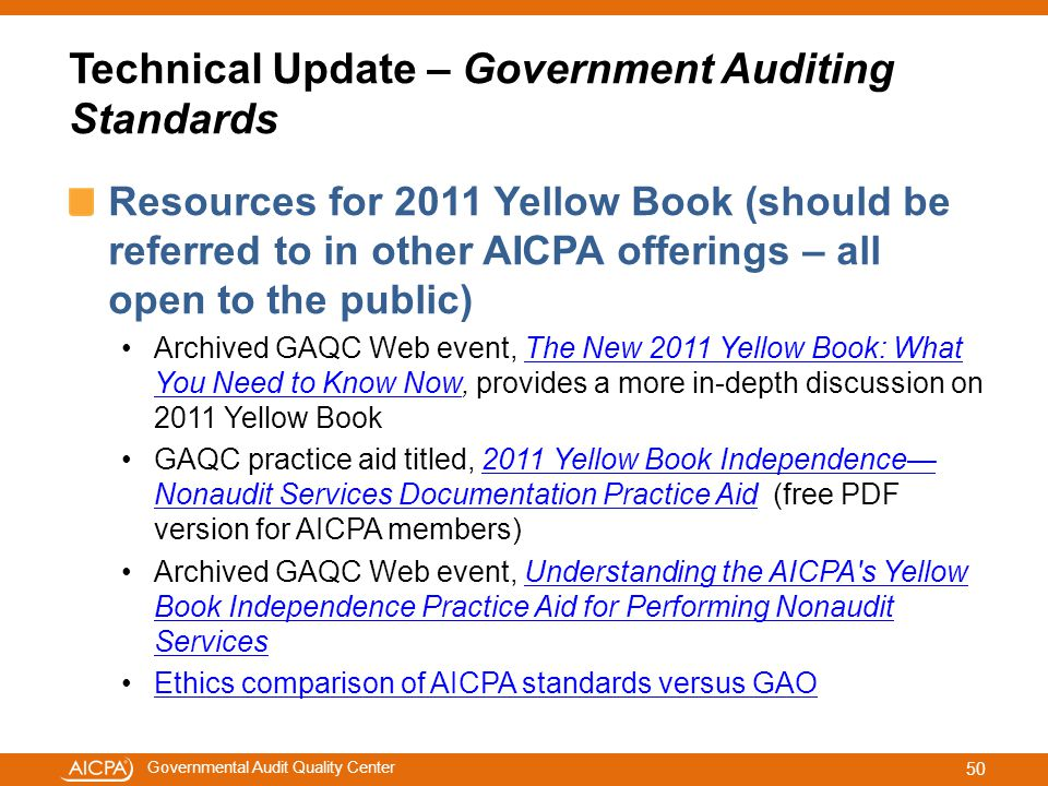 Technical Update – Government Auditing Standards