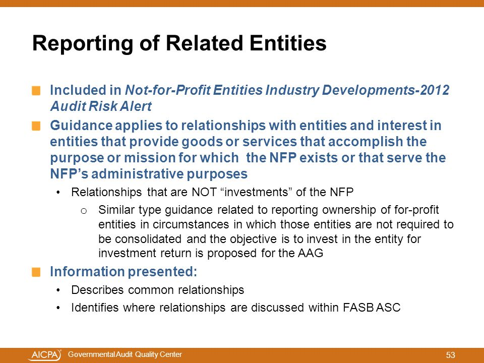 Reporting of Related Entities