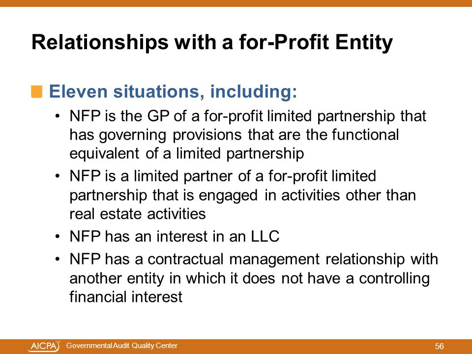 Relationships with a for-Profit Entity