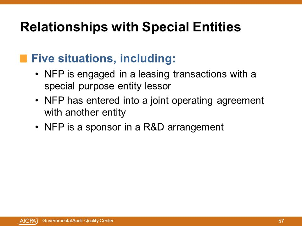 Relationships with Special Entities