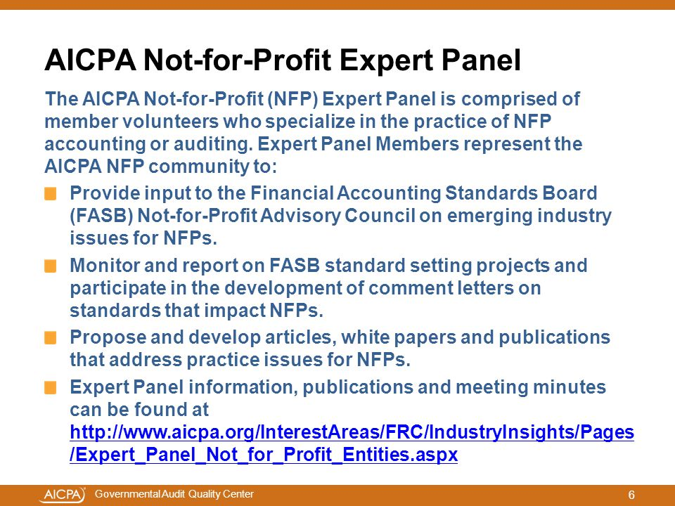 AICPA Not-for-Profit Expert Panel