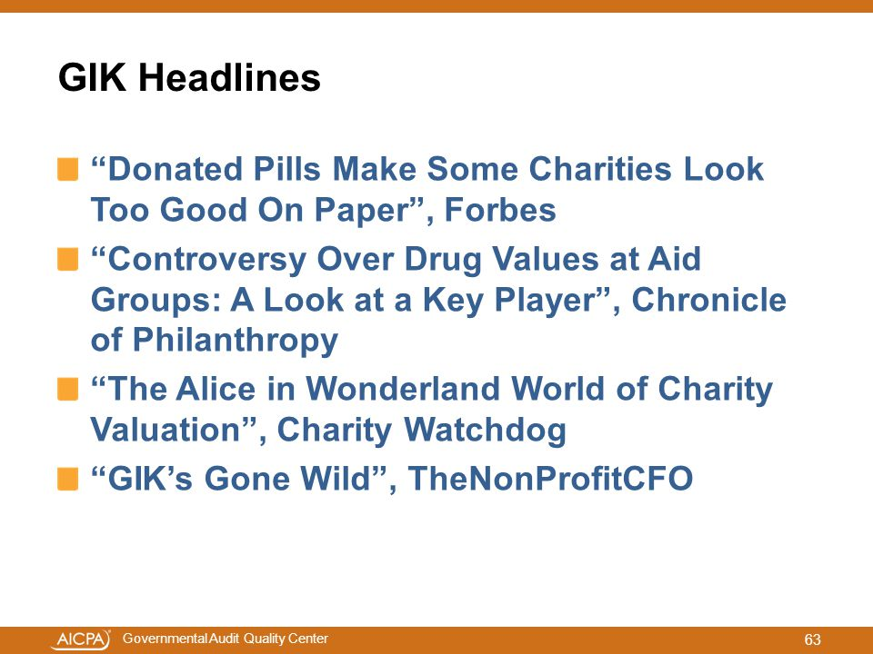 GIK Headlines Donated Pills Make Some Charities Look Too Good On Paper , Forbes.