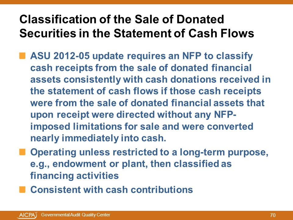 Classification of the Sale of Donated Securities in the Statement of Cash Flows