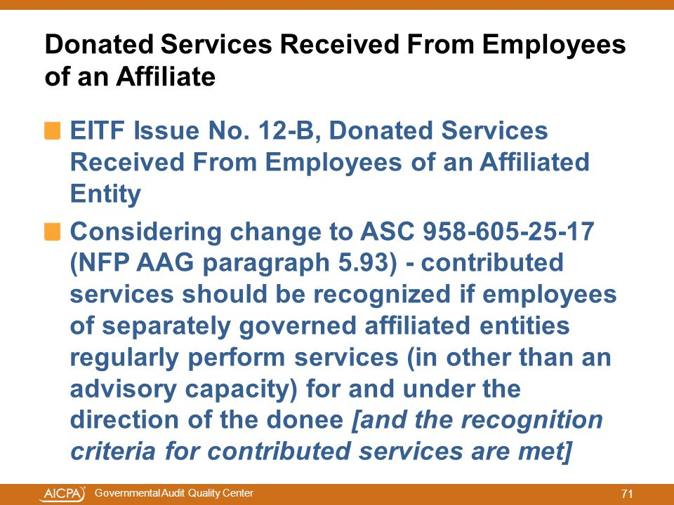 Donated Services Received From Employees of an Affiliate