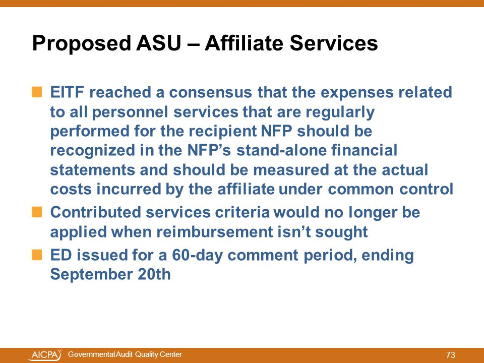 Proposed ASU – Affiliate Services