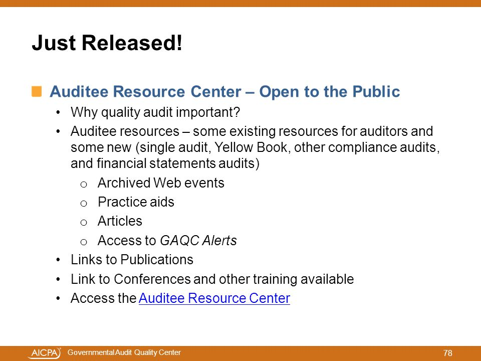 Just Released! Auditee Resource Center – Open to the Public