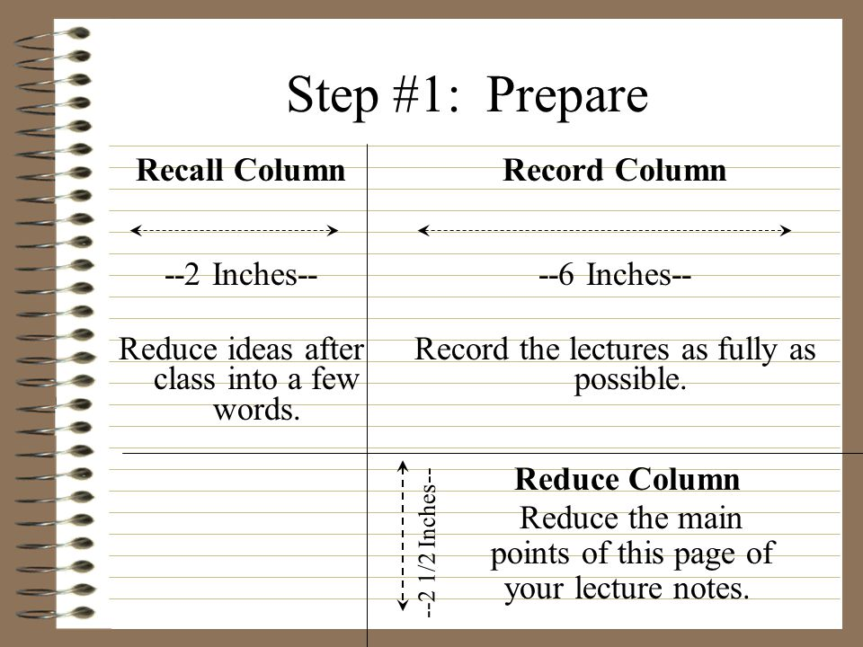Step #1: Prepare Recall Column --2 Inches--