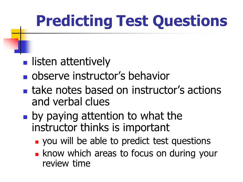 Predicting Test Questions