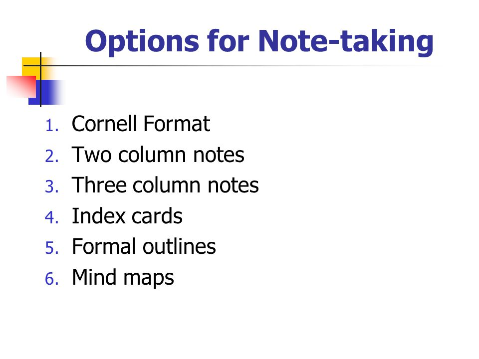 Options for Note-taking