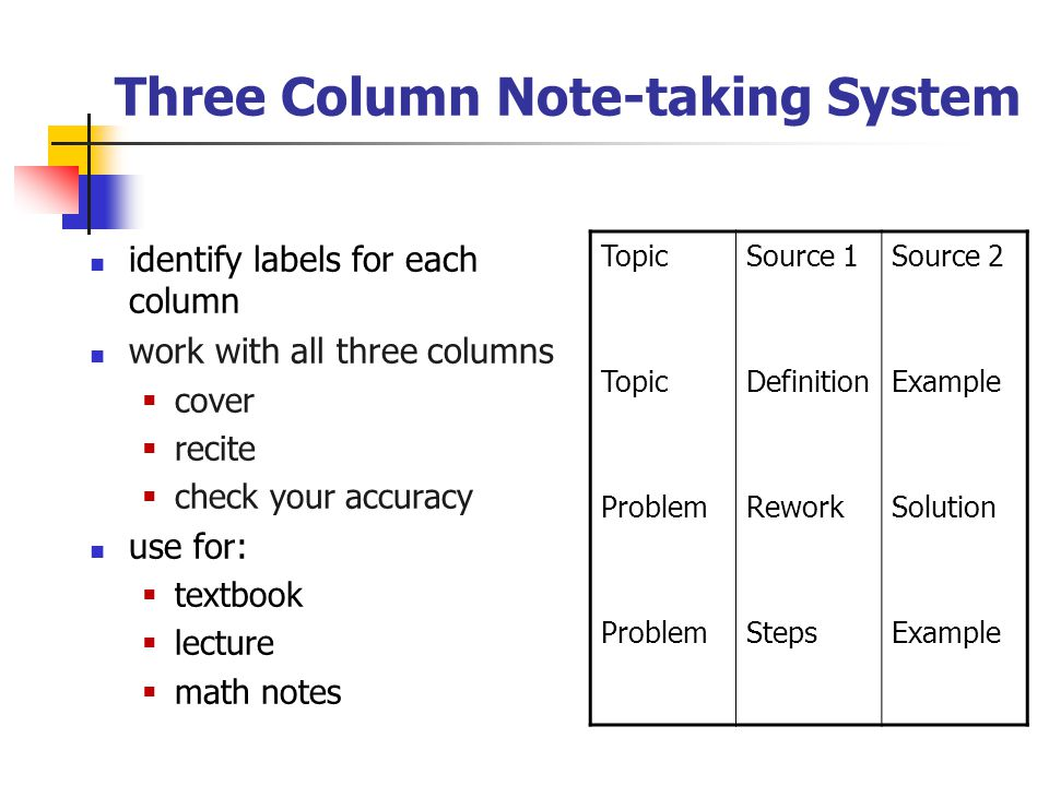 Three Column Note-taking System