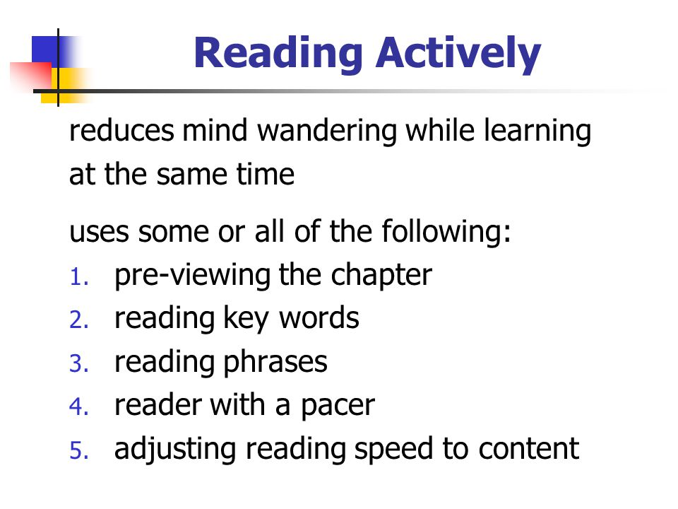 Reading Actively reduces mind wandering while learning