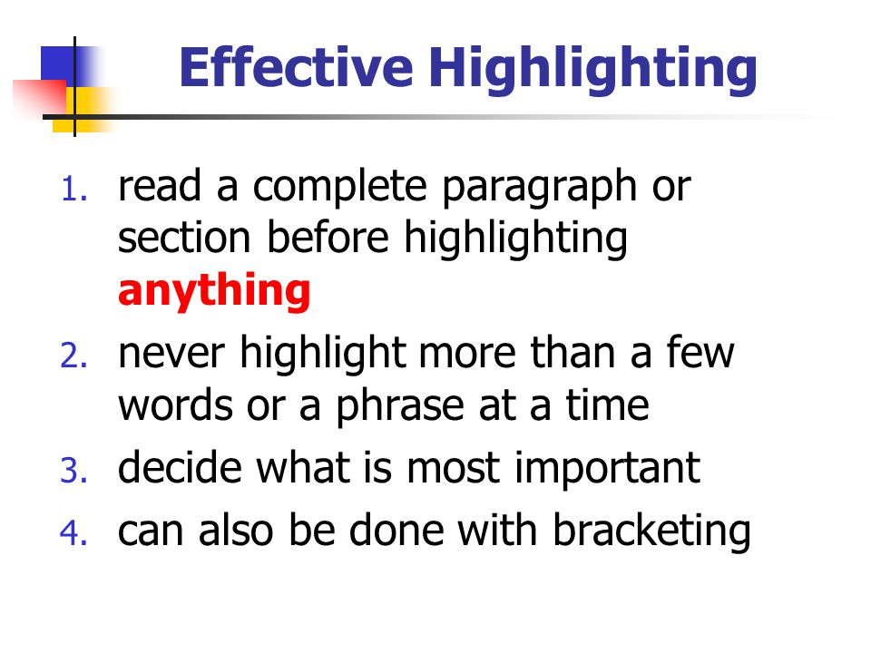 Effective Highlighting