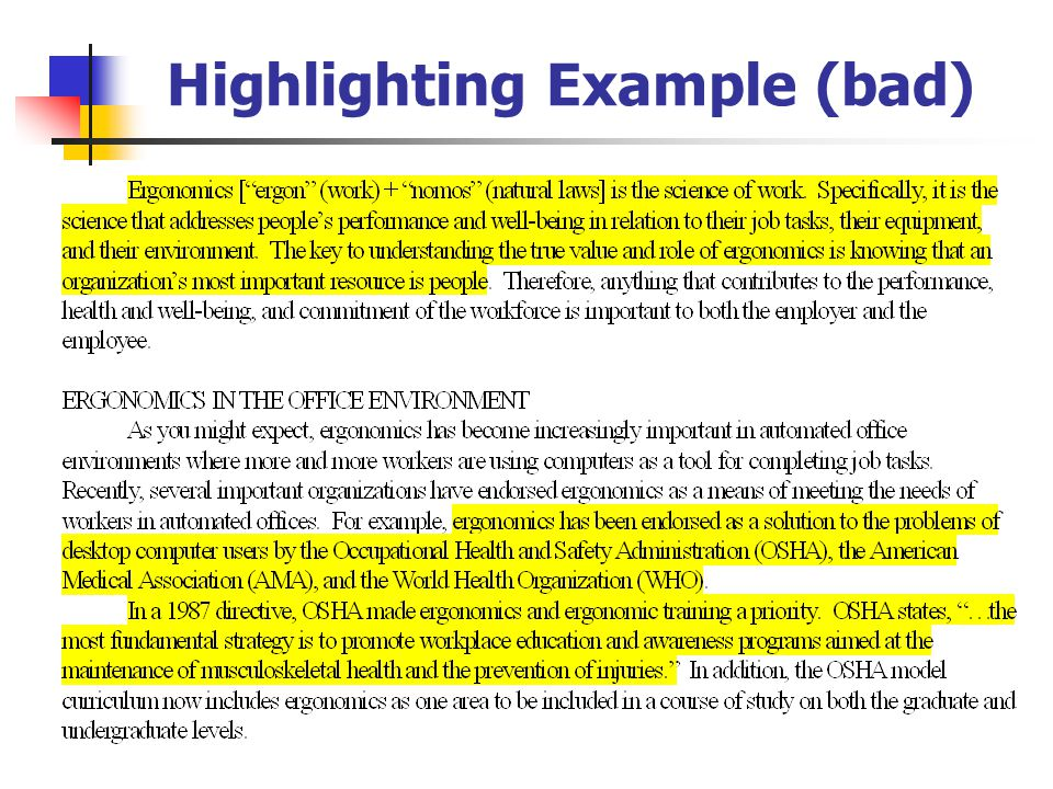 Highlighting Example (bad)