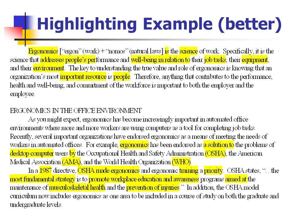 Highlighting Example (better)