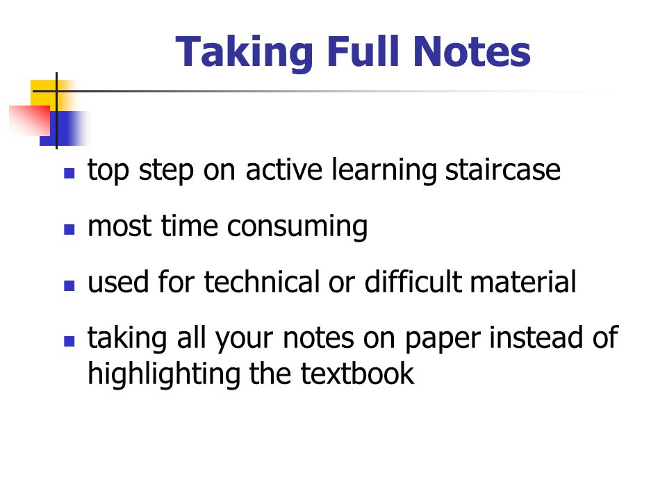 Taking Full Notes top step on active learning staircase