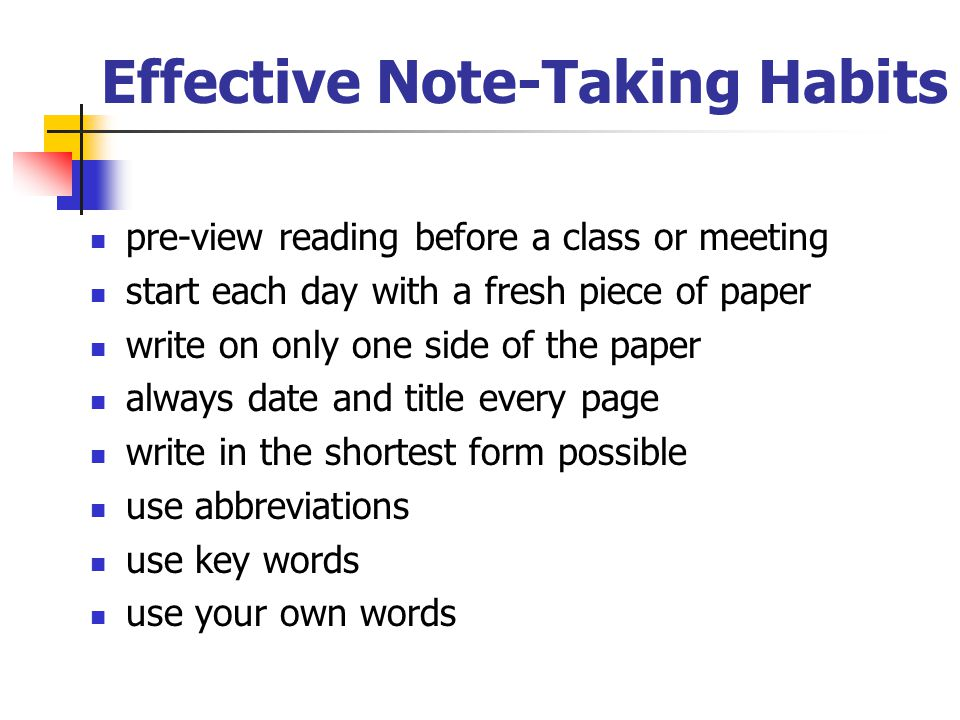 Effective Note-Taking Habits