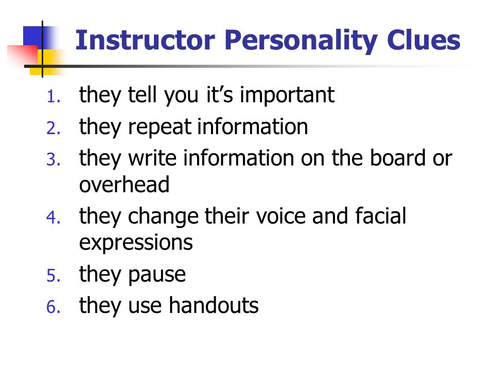 Instructor Personality Clues