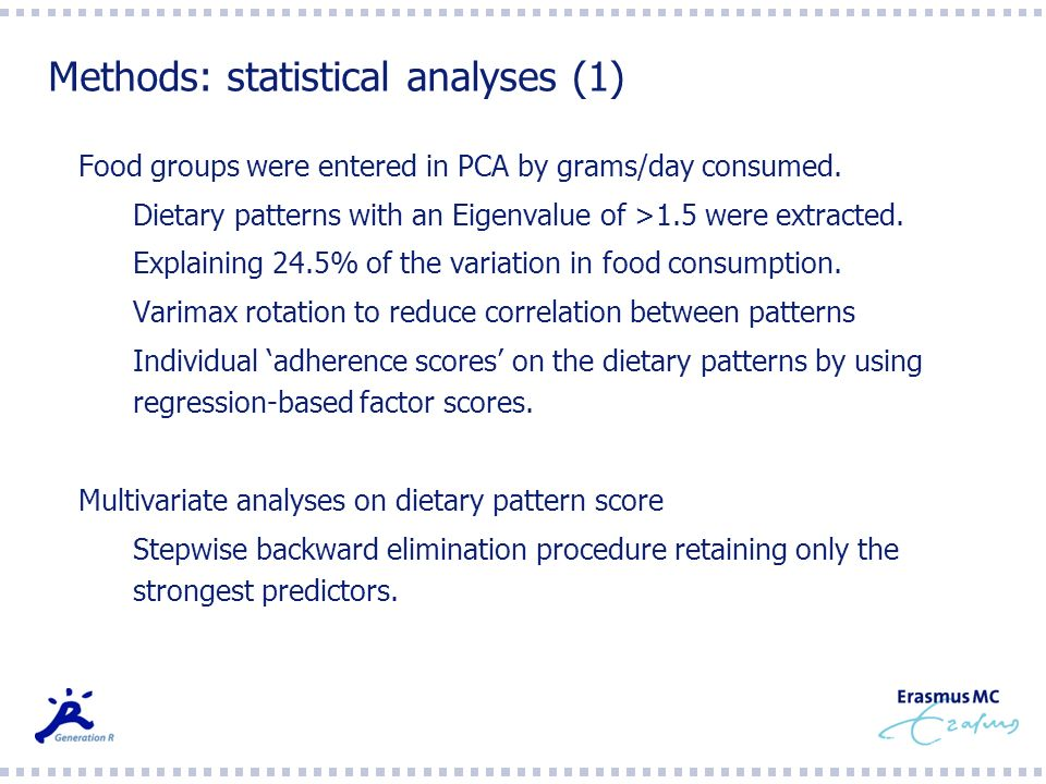 Methods: statistical analyses (1)