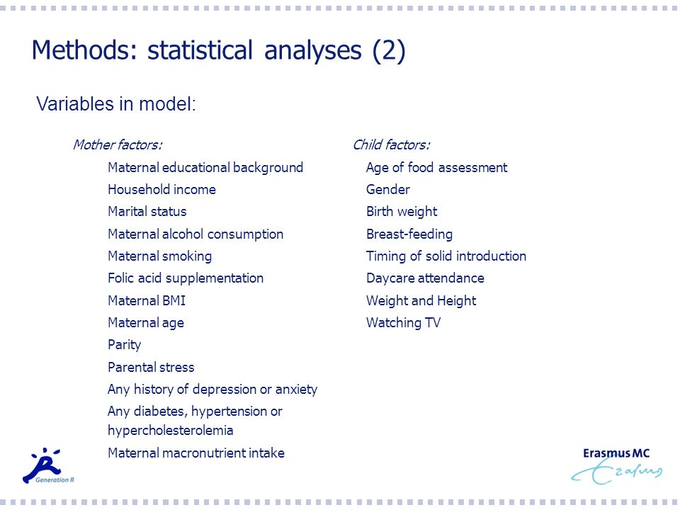 Methods: statistical analyses (2)