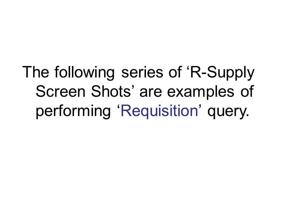 The following series of 'R-Supply