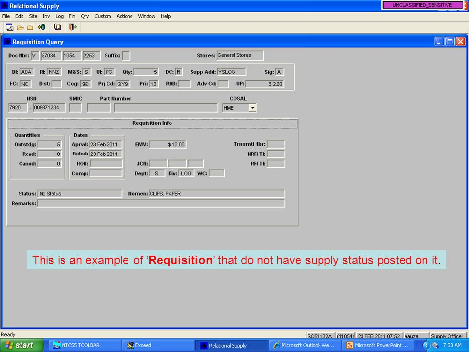 This is an example of 'Requisition' that do not have supply status posted on it.