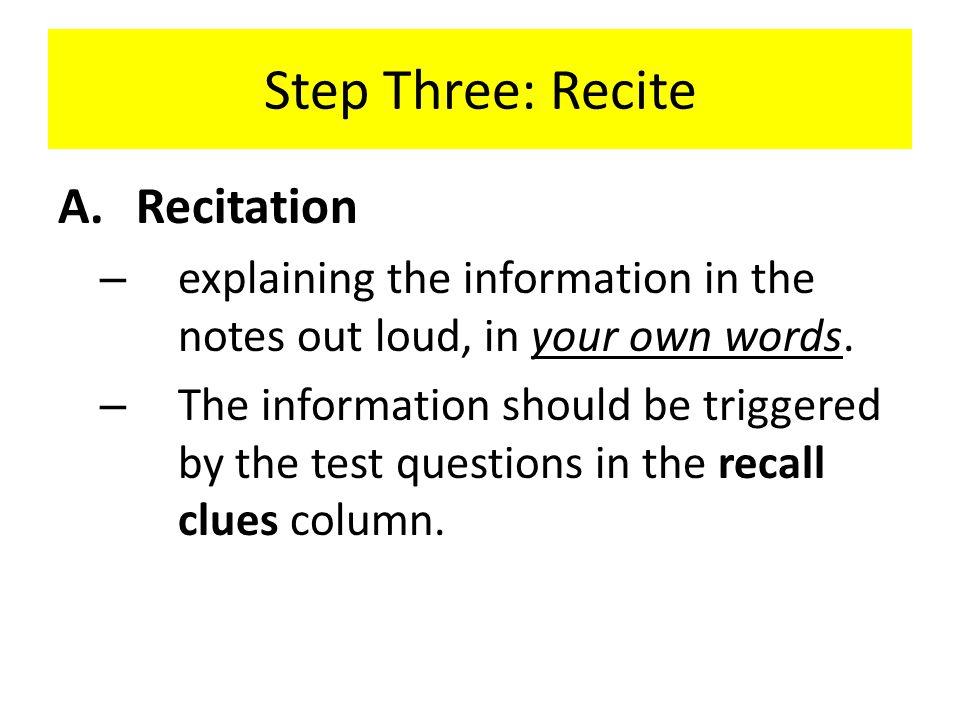 Step Three: Recite Recitation