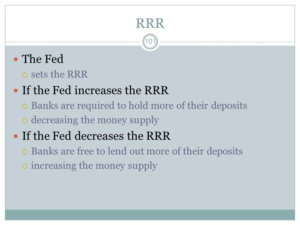RRR The Fed If the Fed increases the RRR If the Fed decreases the RRR