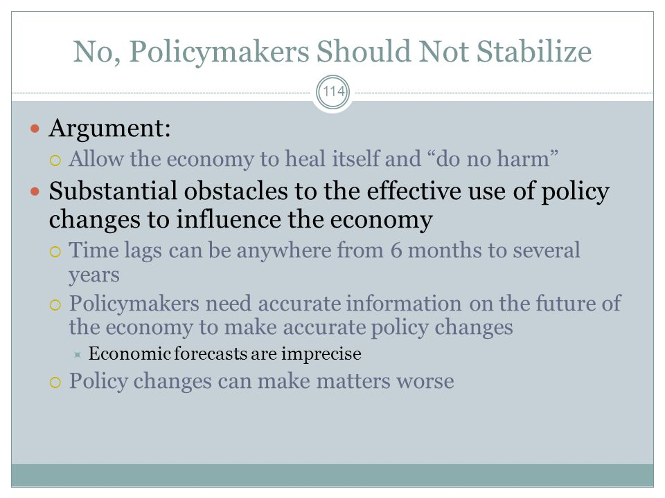 No, Policymakers Should Not Stabilize