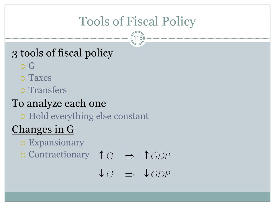 Tools of Fiscal Policy 3 tools of fiscal policy To analyze each one