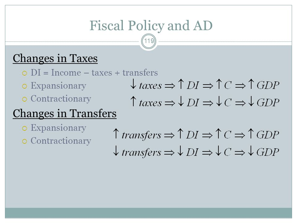 Fiscal Policy and AD Changes in Taxes Changes in Transfers