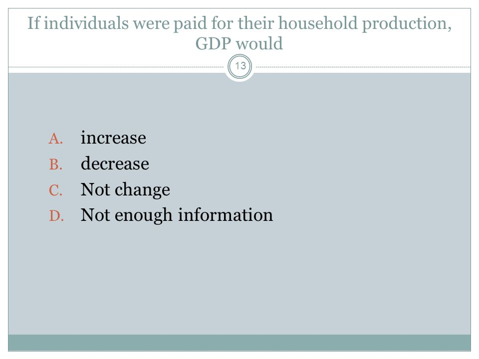 If individuals were paid for their household production, GDP would