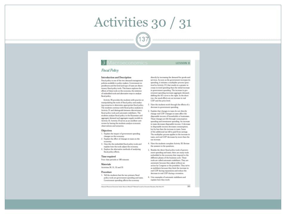 Activities 30 / 31