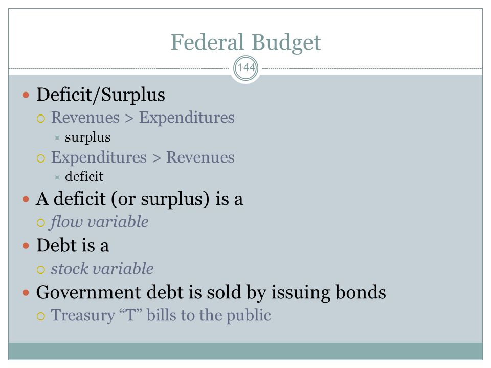Federal Budget Deficit/Surplus A deficit (or surplus) is a Debt is a