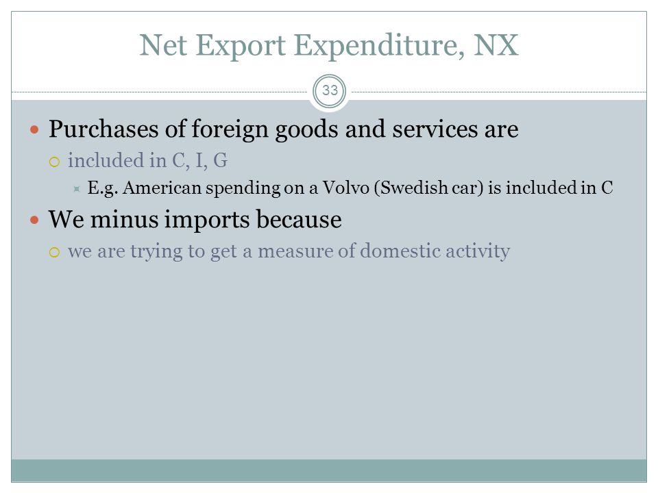 Net Export Expenditure, NX
