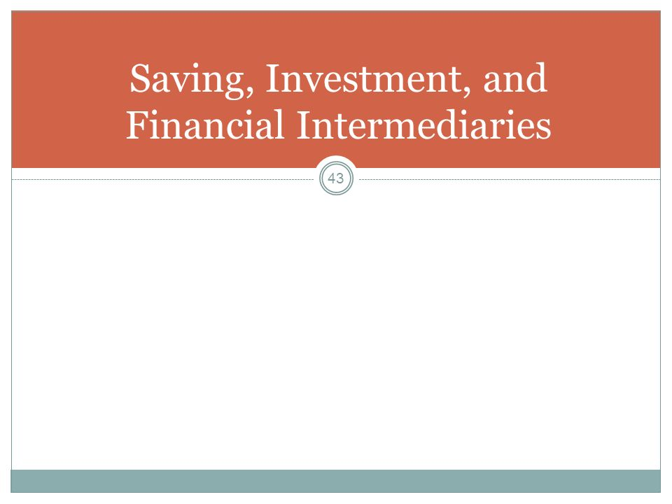 Saving, Investment, and Financial Intermediaries
