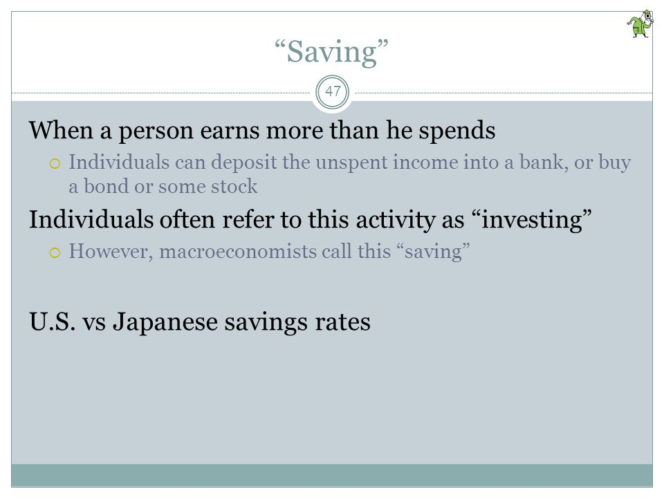 Saving U.S. vs Japanese savings rates