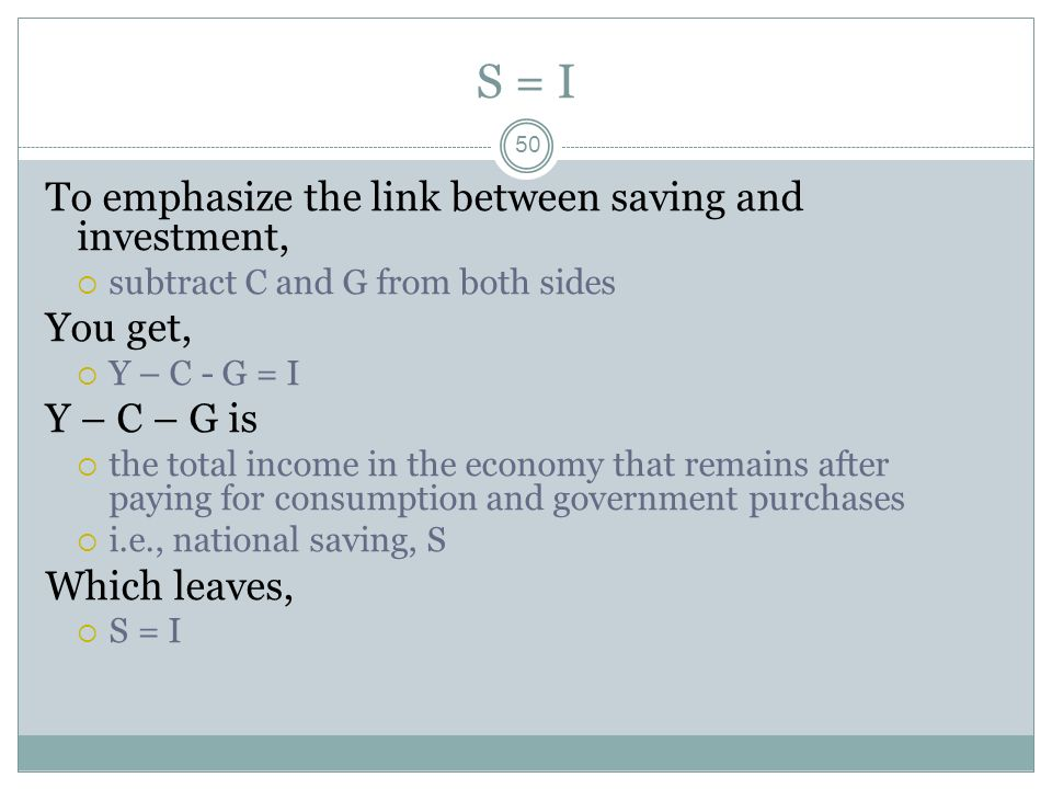 S = I To emphasize the link between saving and investment, You get,