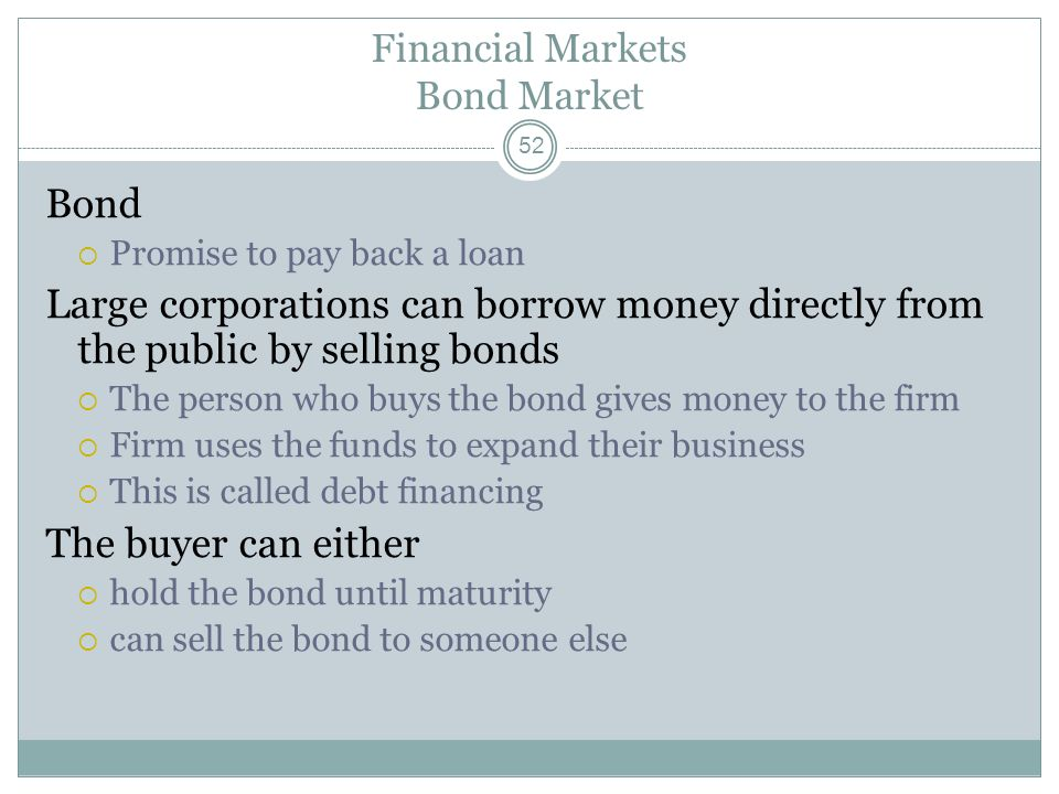 Financial Markets Bond Market